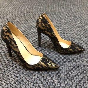 ShoeDazzle * Black Lace Stiletto Heels * Size 9.5